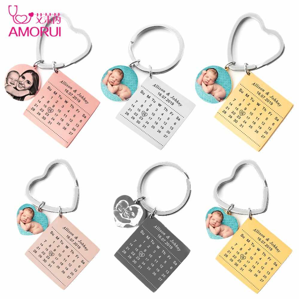 Personalized Custom Photo Keychain Stainless Steel Engrave Photo Name Calendar Anniversary with Heart Keyring For Women Men Gift