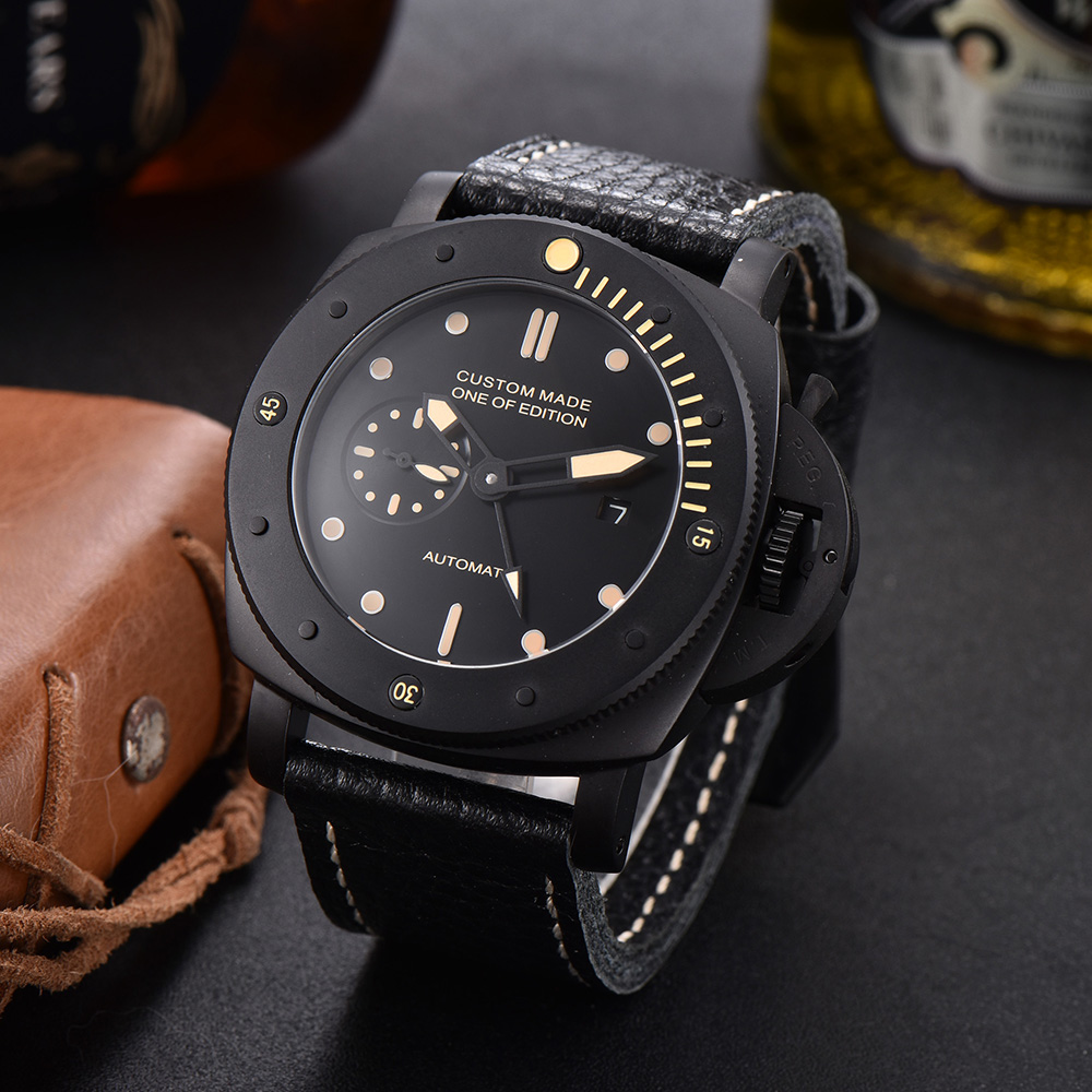 47mm Seagull Automatic Mechanical Watch Men GMT Stainless Steel Case Leather strap Waterproof Luminous Wrist Watches Men P8