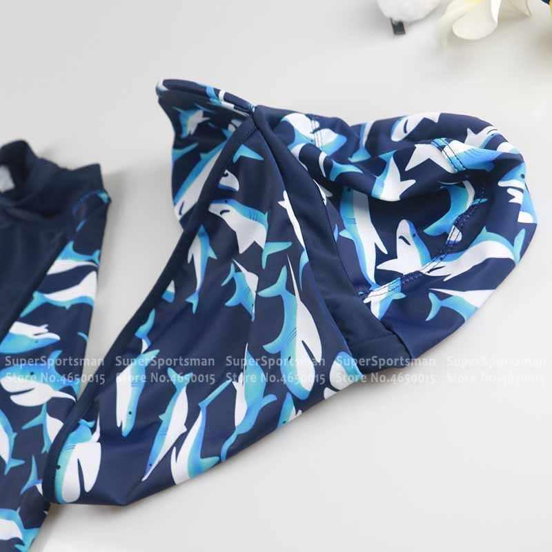 الأطفال الكرتون القرش ملابس الاطفال قطعة واحدة ملابس السباحة طفلة الاستحمام UV Prodection لباس سباحة طفل صبي تصفح Rashguard