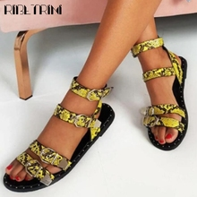 RIBETRINI Female Open Toe Rivet Buckle Fashion Shoes Retro Gladiator Women Sandals Ankle Strap Flat Solid Casual Sandals wetkiss 2018 summer women flat wedges sandals soft leather ladies shoes female fashion open toe footwear buckle strap punk rivet
