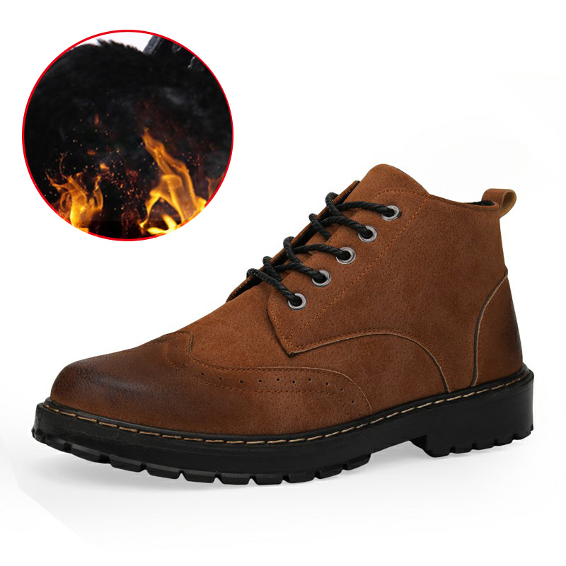 LINGGE Brand Winter Snow Boots Men Fashion Men Warm Boots Male Ankle Lace-Up Gentleman Handmade PU Leather Men's Boots Plus Fur