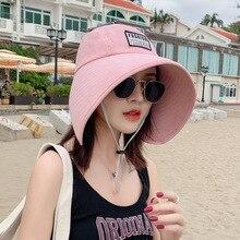 K58 Women Summer Hat  UV Protection Fisherman Hat Fashionable Big Brim Cap Beach Sunhats Wild Empty Top Hat Ponytail Hat Travel