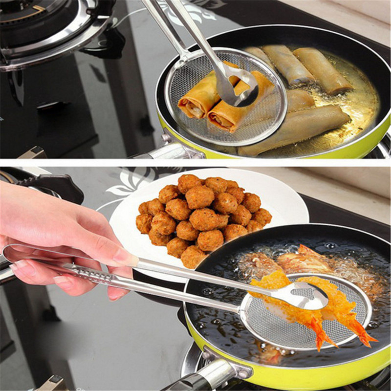 1pcs Kitchen Accessories Stainless Steel Fried Food Fishing Oil Scoop Kitchen Gadget and Barbecue Brush for Kitchen Tools Home-S