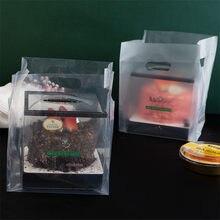 50 pces geada transparente portátil suporte de cozimento plástico 4/6/8/10 Polegada bolo pizza pão sobremesa alimentos embalagem takeaway sacos