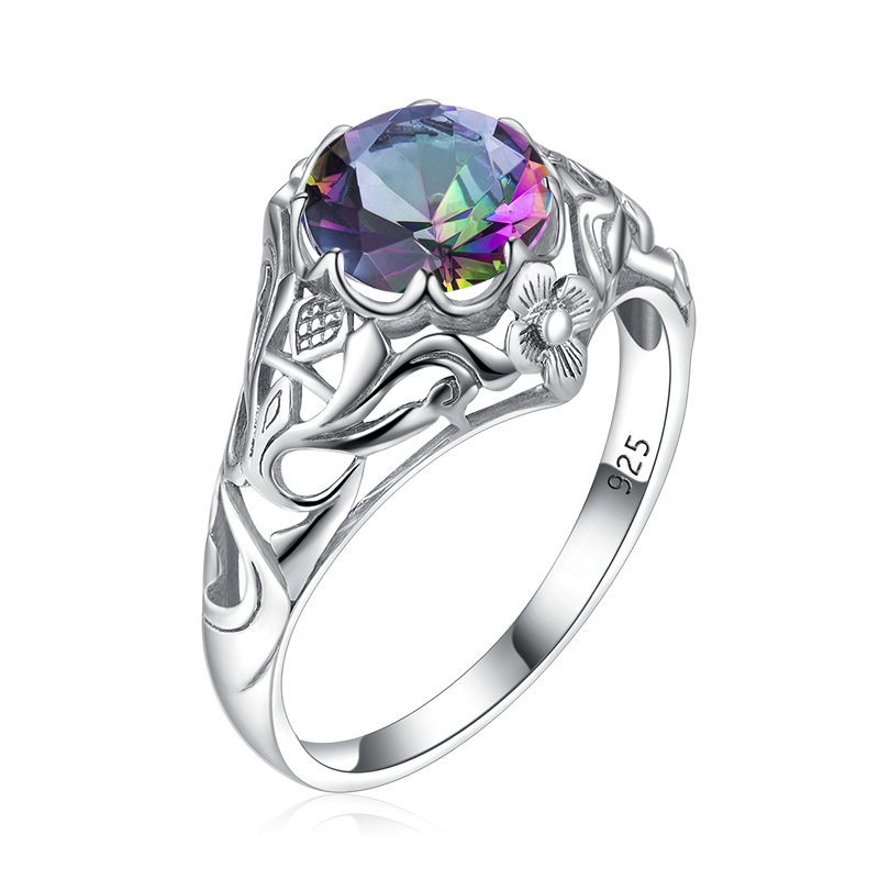 Szjinao 925 Ring Mystic Topaz Sterling Silver Rings Boho Flower Carve Round Engagement Ring Silver 925 Gemstones Jewelry Factory
