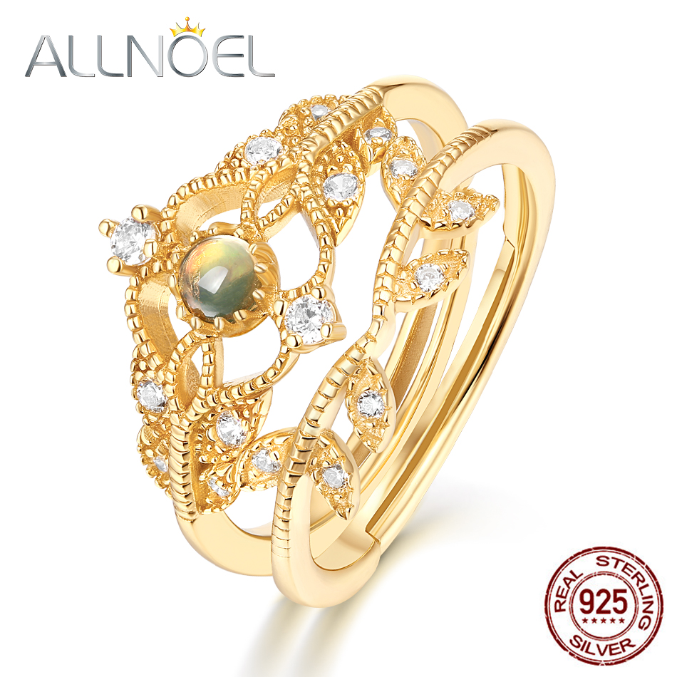 ALLNOEL 2019 Solid 925 Sterling Silver Ring For Women 100% Natural Opal Zircon Diamond Hollow Flower Vine Stacking Fine Jewelry