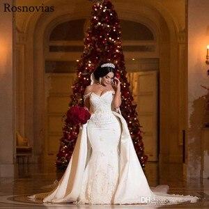 Image 3 - Luxury Mermaid Wedding Dresses With Detachable Train 2020 Off Shoulder Lace Appliques Vestido De Novia Modest Stain Bridal Gowns