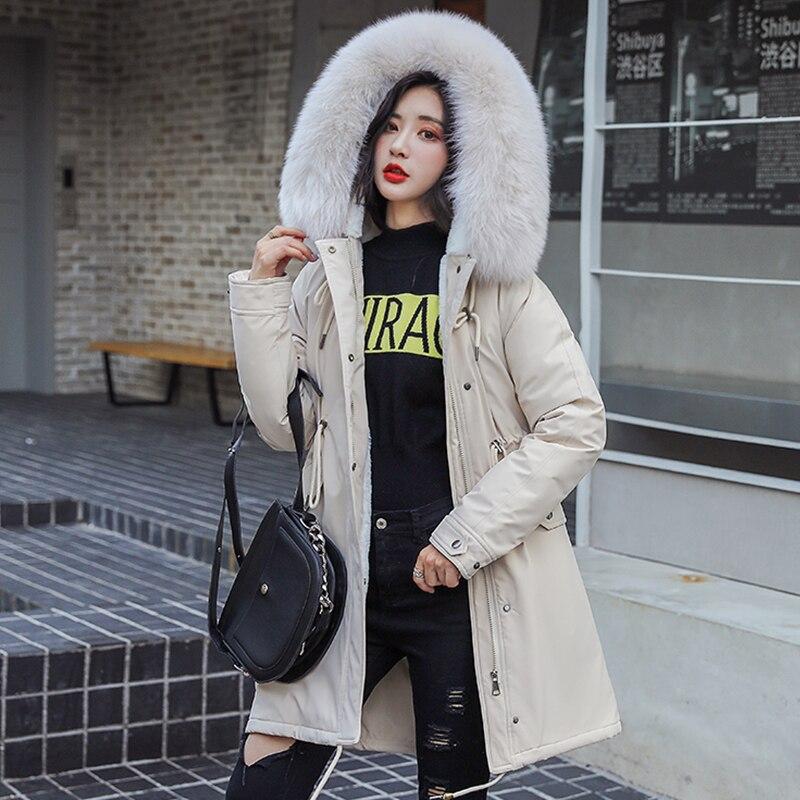Зимние парки 2019 зима-30 градусов женские парки пальто с капюшоном меховой воротник толстая секция теплые зимние куртки зимнее пальто куртка
