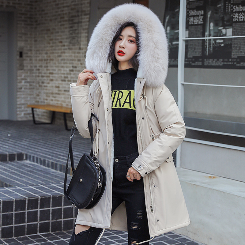 Winter Parkas 2019 winter 30 degree women s Parkas coats hooded fur collar thick section warm