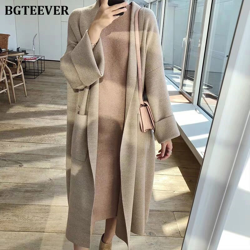 Casual Pockets Women Cardigan Autumn Winter Long Sweater Jumper Knitted Cardigan Female Striped Open Stitch Sweater Coat 2019