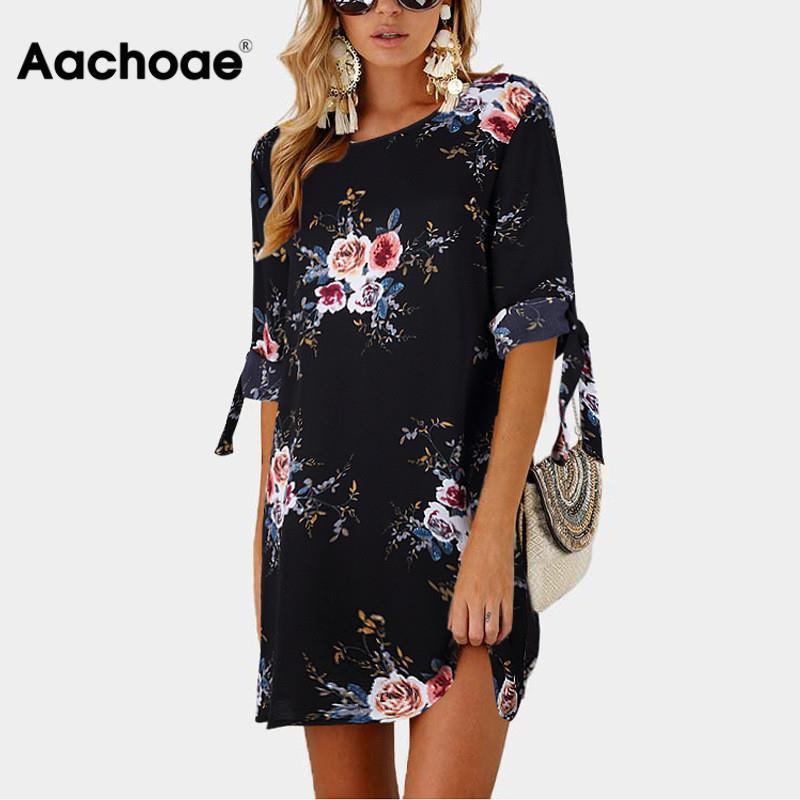 Aachoae Summer Dress 2020 Women Floral Print Beach Chiffon Dress Casual Loose Mini Party Dress Boho Sundress Vestidos Plus Size