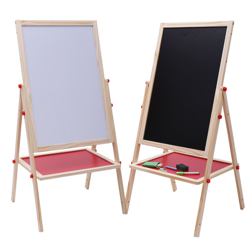 Children Early Education Wood Magnetic Drawing Board Easel Writing Board Blackboard Color Holder Adjustable Large Size Drawing B