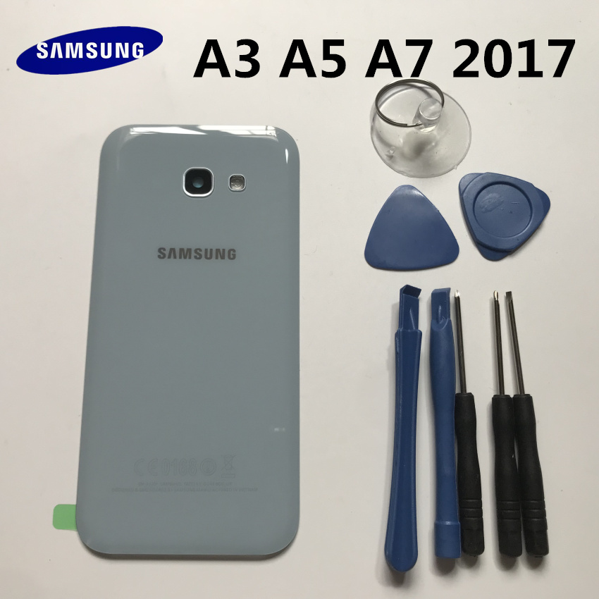NEW Rear Panel Battery Glass Back Door Cover For Samsung Galaxy A3 A320 A5 A7 A720 A720F 2017 Pre-adhesive Stickers+tools