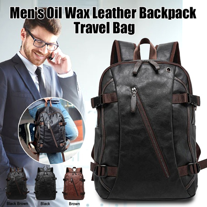 Men Oil Wax Leather Anti Theft Backpack Men's Casual Backpack & Travel Bags Western College Bookbag Laptop Computer Bag Mochilas