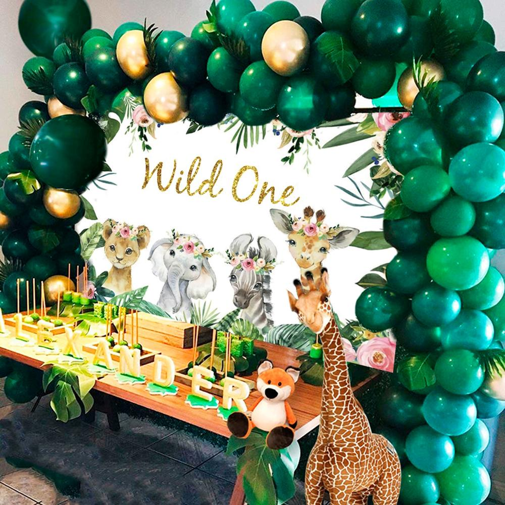 FENGRISE Animal Backdrop Boy Girl Baby Shower Decor Jungle Safari Party Supplies Wild One Birthday Party Decorations Kids