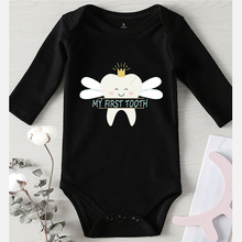 Baby First-Tooth-Printed Rompers Jumpsuits Girl Newborn Boy Infant Winter Cotton Children
