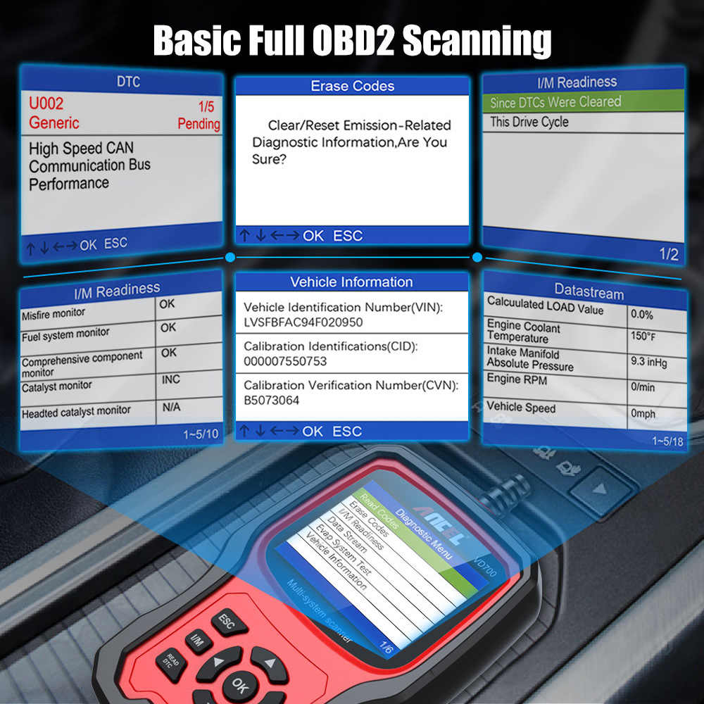 ANCEL FD700 All System OBD2 Scanner for Ford Vehicles Automotive Code Reader Diagnostic Scan Tool with SRS SAS Calibration Oil TPMS IQA EPB BMS DPF Regen EGR Reset