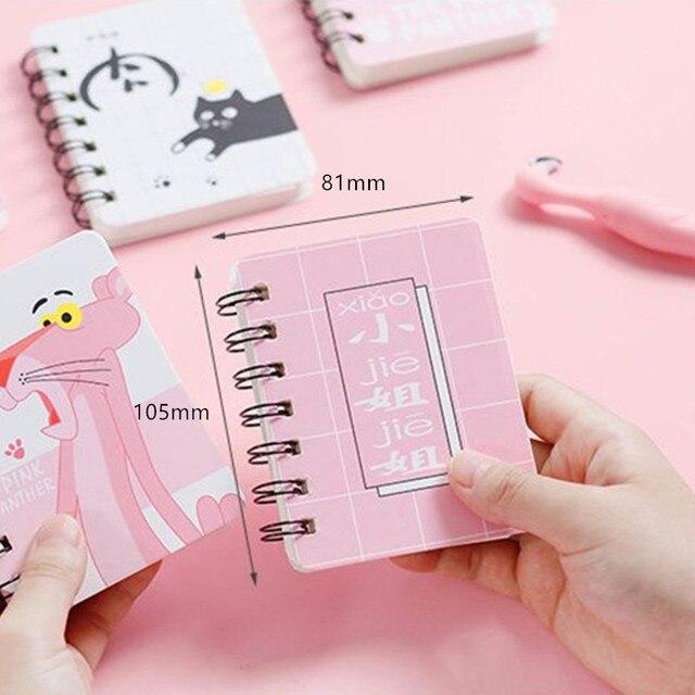 16 stylów Kawaii śliczne różowe pantery notatnik koreańskie piśmiennicze Student Rollover cewka Notebook przenośny notatnik szkolne