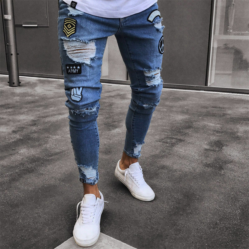 Stylish Mens Stretchy Ripped Skinny Biker Destroyed Slim Fit Jeans Taped Denim Pants Elastic Waist Harem Pants Men Jogger S-4XL