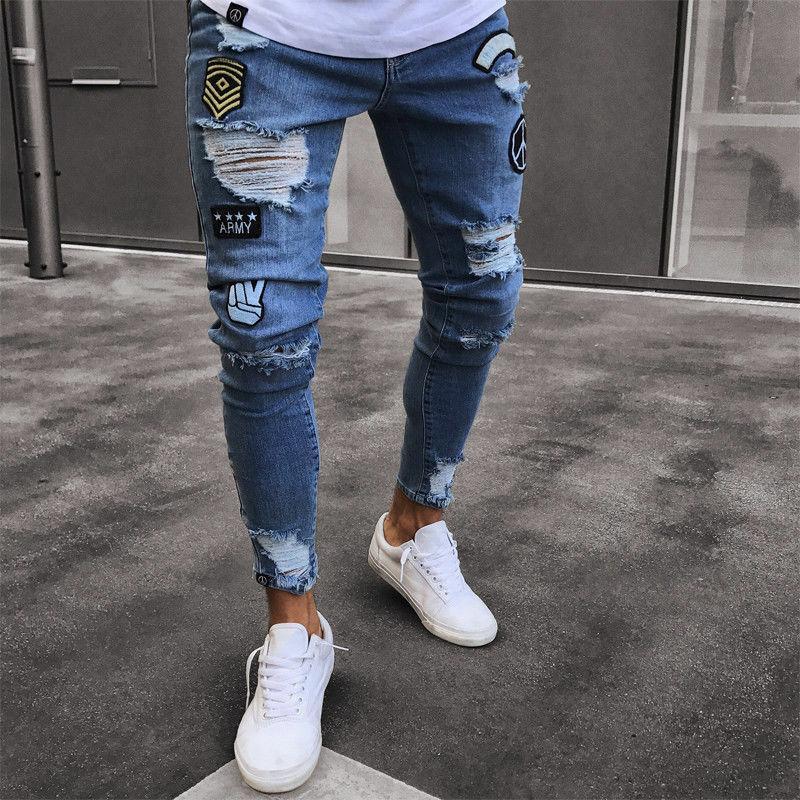Stylish Mens Stretchy Ripped Skinny Biker Destroyed Slim Fit Jeans Taped Denim Pants Elastic Waist Harem Pants Men Jogger S-4XL