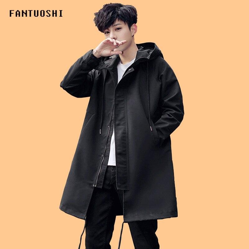 Мужская куртка весна осень, новое модное длинное пальто с капюшоном, ветровка, Мужская однотонная свободная зимняя куртка, Мужская одежда 3XL|Куртки| | АлиЭкспресс