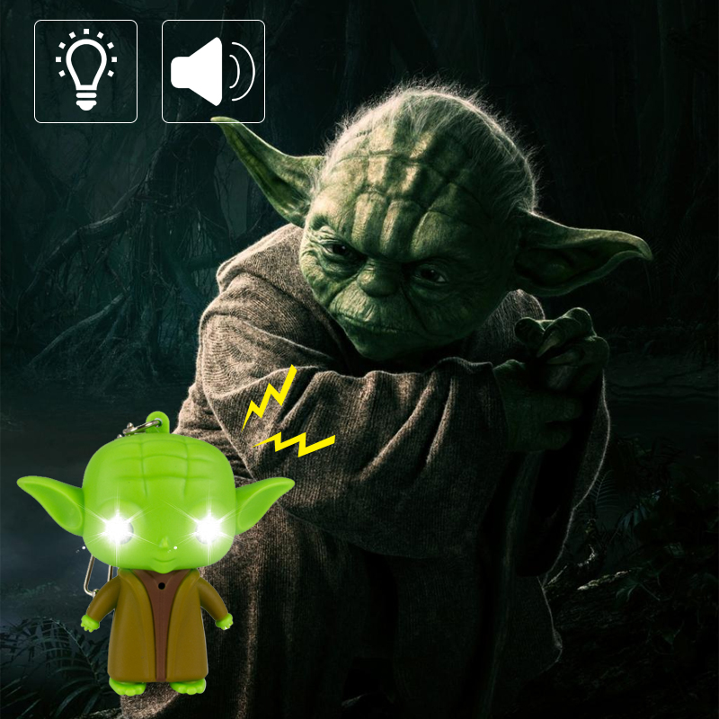 LED Sound Keychain Star Wars Keychain Jedi Master Yoda Keychain LED Keychain Cute Toys Give Children The Best Gift