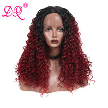 DQ Long Curly Synthetic Lace Front Wig Women Heat Resistant Fiber Daily Party Cosplay Wig Ombre Brown Red Black Wig Middle Part(China)