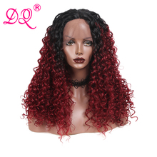 DQ Long Curly Synthetic Lace Front Wig Women Heat Resistant Fiber Daily Party Co