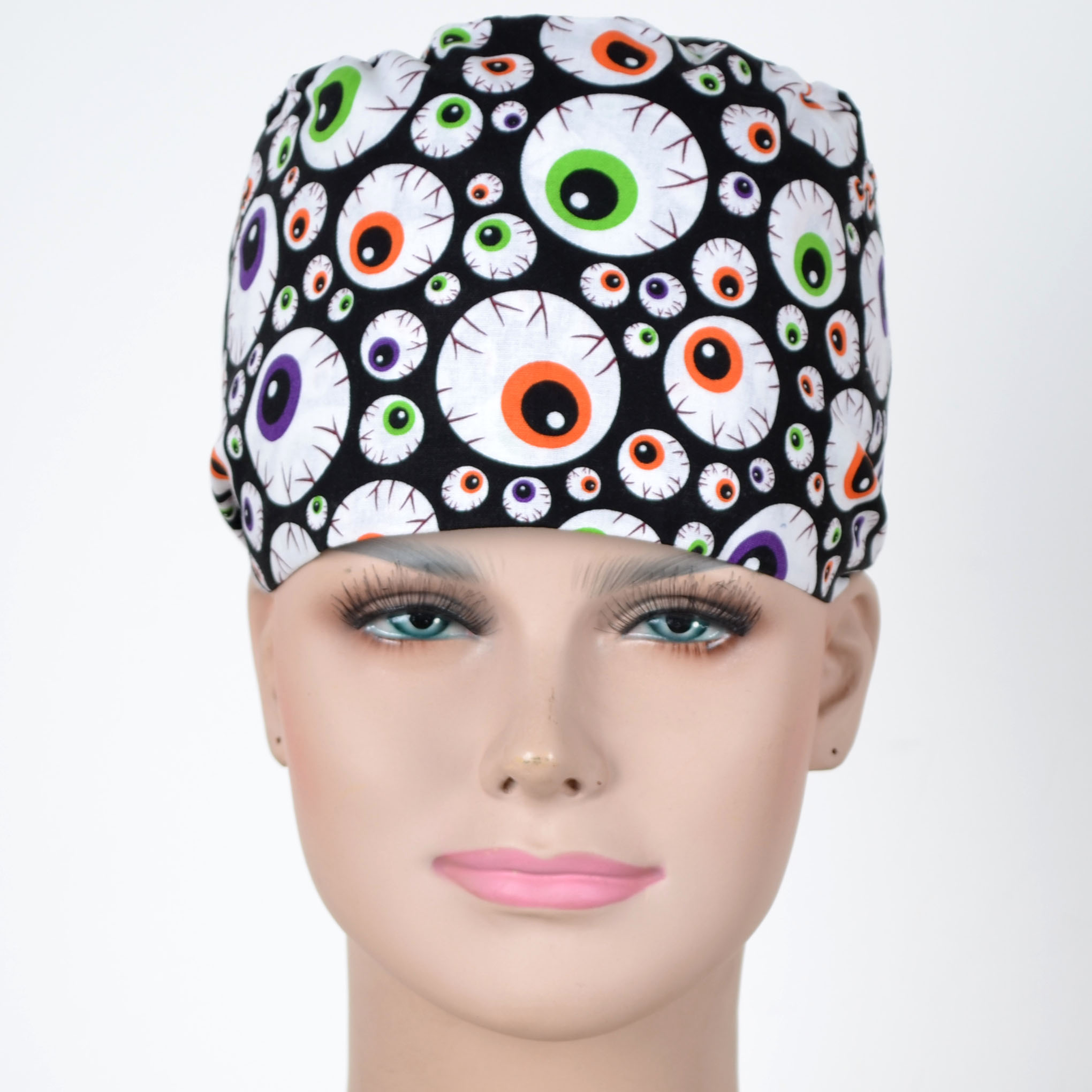 Hennar Unisex Scrub Caps For Men And Women,medical Caps In Black With Eyes Prints,3 Sizes For Choice