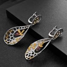 Серьги подвески женские из серебра 925 пробы с Пчелкой и сотами