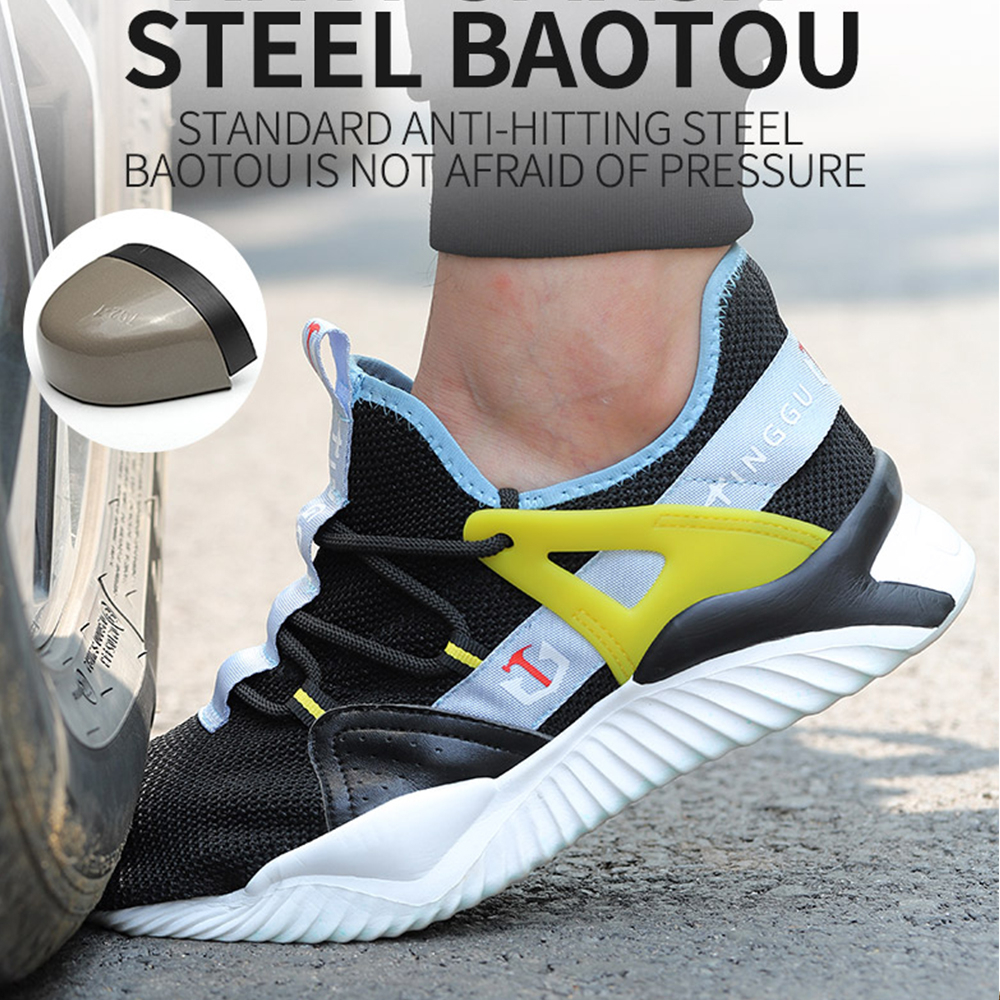2020 Men Work Shoes Anti-smash Puncture-proof Steel Toe Cap Work Safety Shoes Breathable Mesh Sneakers Industriales Safety Shoes