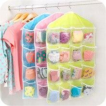 Wardrobe Organizer Hanger Rack Underwear Hanging-Bag 16-Pockets Bra Clear Socks