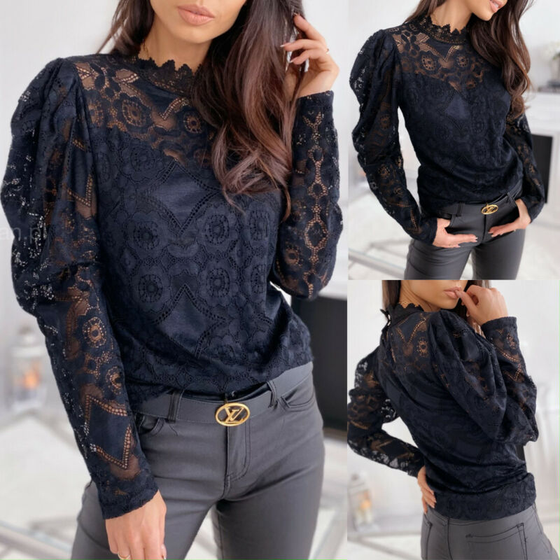 Women Hollow Out Lace Floral Shirt Blouses Female Long Sleeve Office Ladies Tops Turtleneck Blouse Pullover Clothes