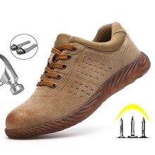 Męskie buty odkryte niezniszczalne buty stalowe Toe bezpieczeństwo pracy Boot anty-przebicie obuwie robocze buty męskie trampki dla dorosłych