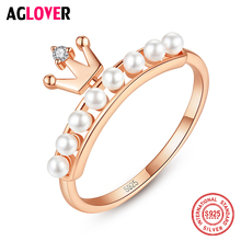 2019 New 925 Sterling Silver Crown Ring Natural Freshwater Pearl Ring Charm Jewelry Women Wedding Jewelry Top Quality Wholesale