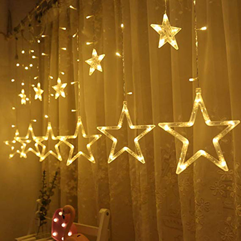 2.5M 138LED 220V EU/110V US Christmas Star Garlands String Lights Fairy Curtain Light Outdoor For Party Wedding Holiday Decor