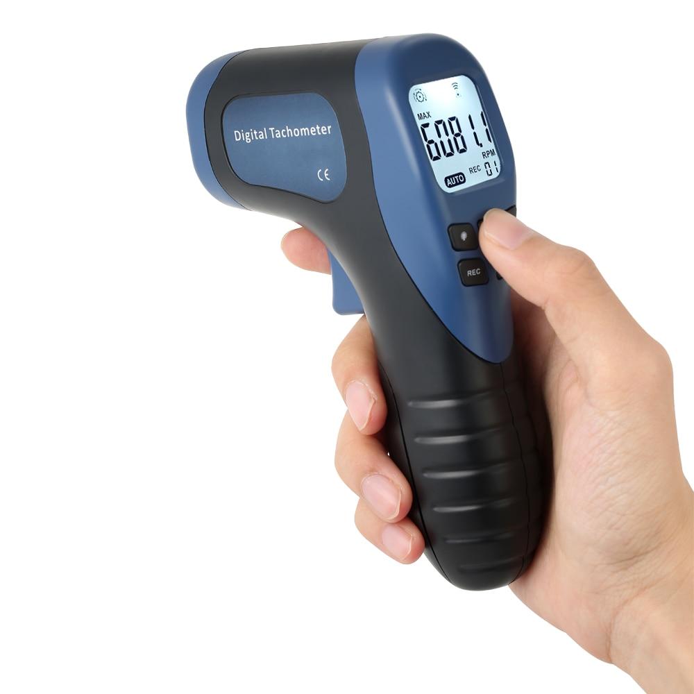 Tachymètre de Photo numérique tenu dans la main LCD rpm mètre Laser sans Contact Tach portée 2.5-99999RPM compteur de vitesse de moteur + 1pc bande réfléchissante