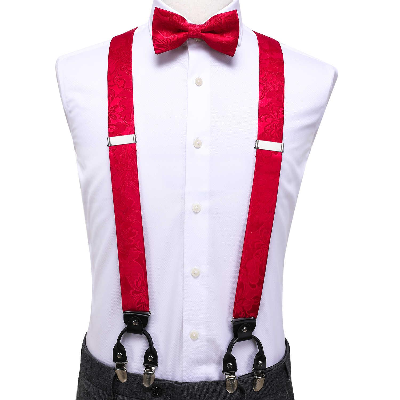 Hi-Tie lüks marka ipek yetişkin erkek papyon jartiyer kırmızı mavi çiçek askı deri Metal 6 klipler askı parantez