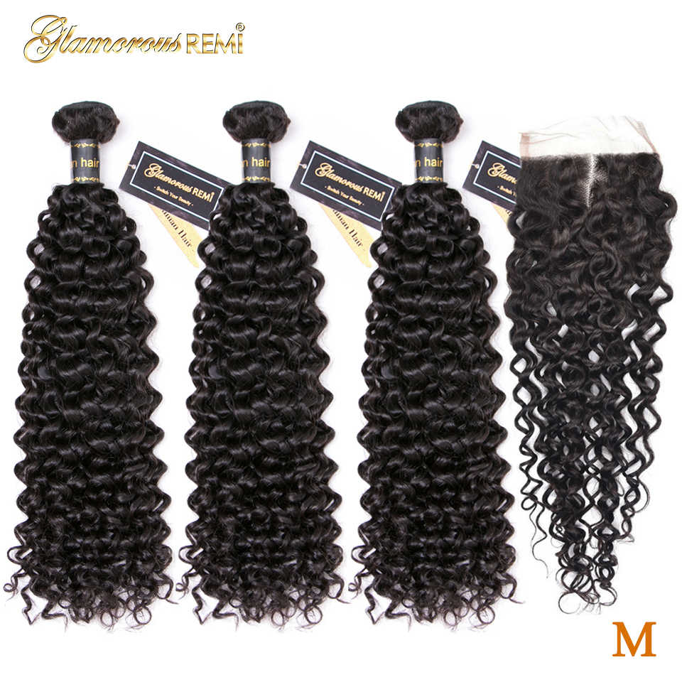 Curly Bundles With Closure Brazilian Hair Weave Human Hair Bundles With Closure 100% Human Remy Hair Extensions Middle Ratio 1B