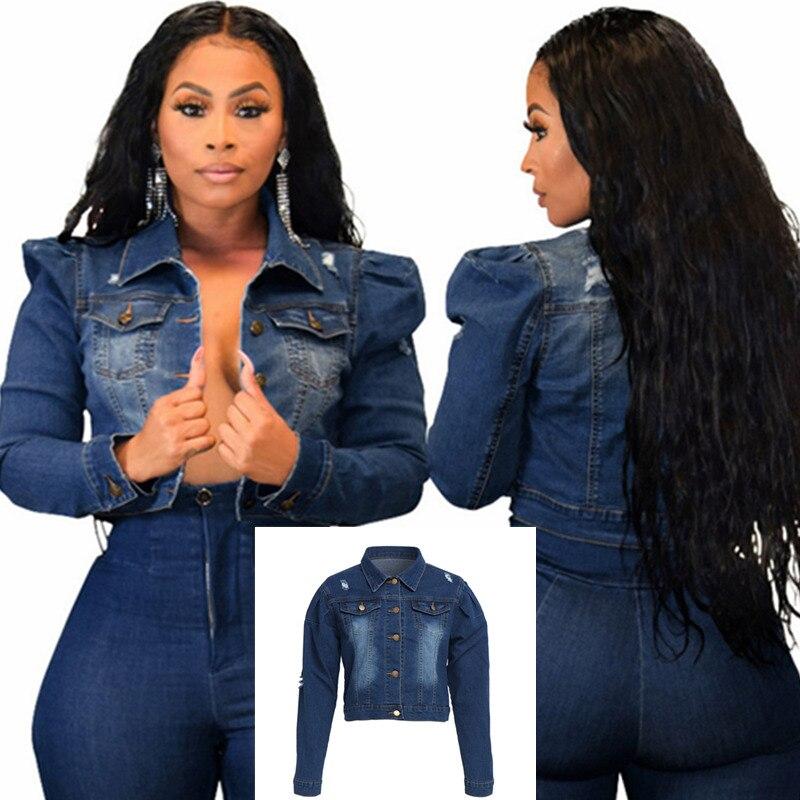 Women s Casual Dark Blue Turn down Neck Short Denim Jacket