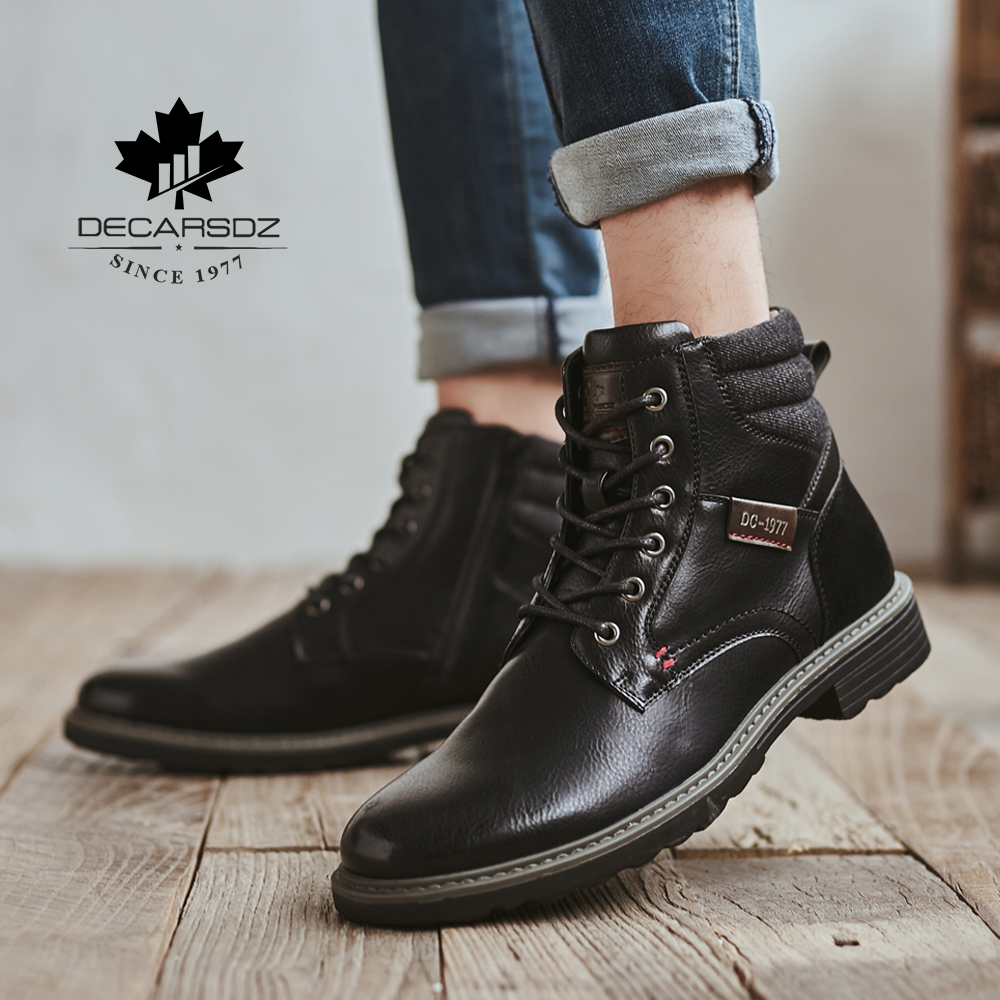 DECARSDZ Men Boots Comfy Lace-up High Quality Leather Men's Boots 2020 Autumn Fashion Shoes Man Durable outsole Men Casual Boots 4