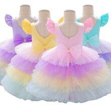 Винтажное кружевное розовое платье без рукавов для маленьких девочек 1 год, праздничное платье для дня рождения платье для свадебной вечеринки для детей от 0 до 6 лет, платья для младенцев