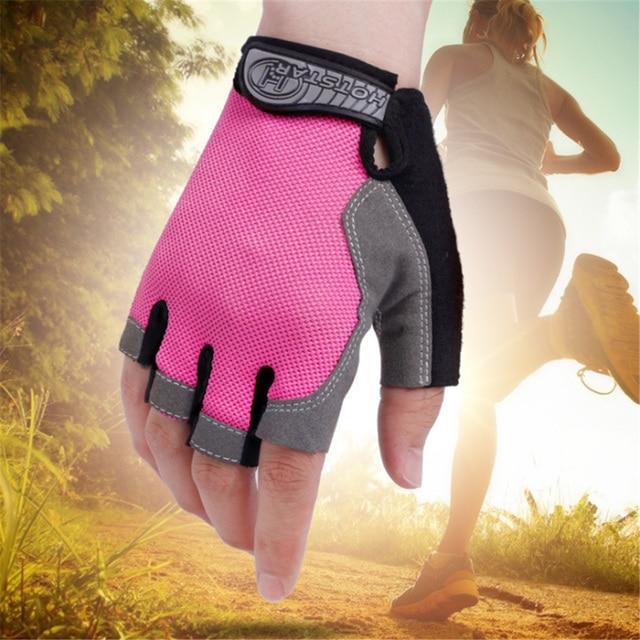 Para homens mulheres luvas de ciclismo luvas de bicicleta anti derrapante choque respirável metade dedo luvas esportivas acessórios da bicicleta 1