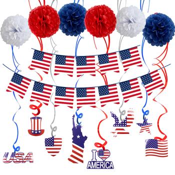 Trznadel strona główna flaga ameryki z balonami motyw patriotyczny DIY strona dekoracji dzień niepodległości zestaw chorągiewek akcesoria tła tanie i dobre opinie HOUSEEN CN (pochodzenie) Other Na imprezę