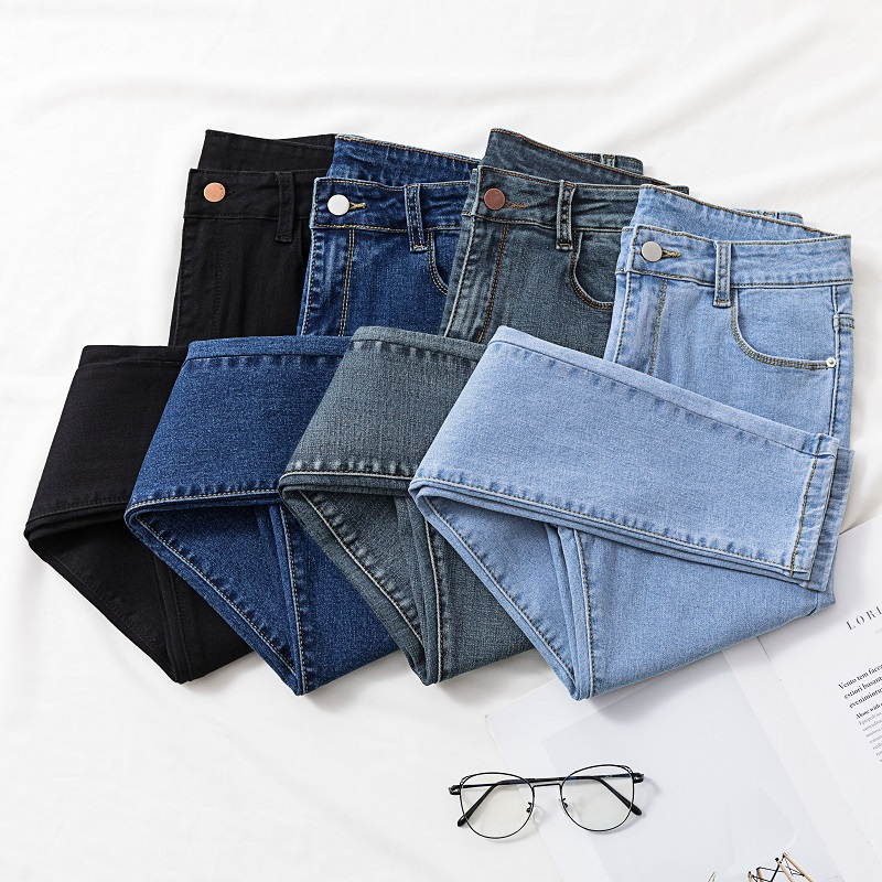 Solid Skinny Jeans Woman 2020 New Chic Show Slim Hole Denim Pencil Pants Woman High Waist Elastic Jean Female Korean Style