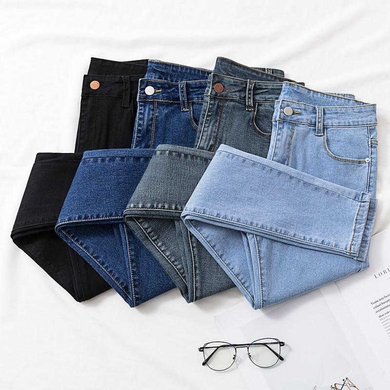 Solid Skinny Jeans Woman 2020 New Chic Show Slim Hole Denim Pencil Pants Woman High Waist Elastic Jean Female Korean Style