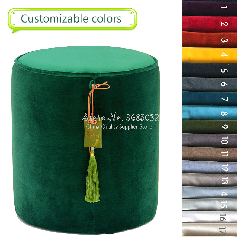 Customizable Colors Velvet Dressing Stool Chinese Style Luxury Tassel Makeup Bench Ottoman Creative Pouf Home Furniture 35*40cm