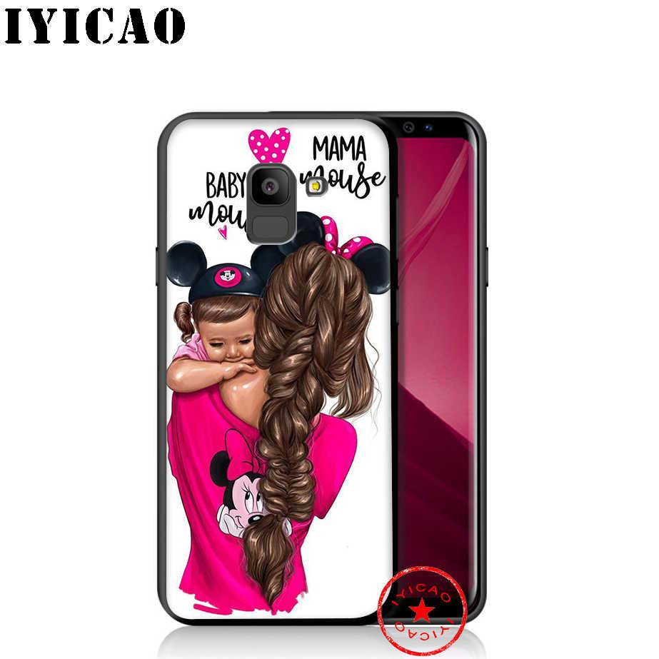 IYICAO สีดำสีน้ำตาลทารกสาวนุ่มโทรศัพท์กรณีสำหรับ Samsung Galaxy A9 A8 A7 J6 A6 Plus 2018 a5 A3 2016 2017 ซิลิโคน