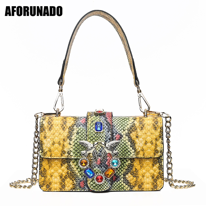 Luxury Handbags Women Bags Designer Serpentine PU Leather Shoulder Bags Famous Brand Chains Clutch Crossbody Bags For Women 2019