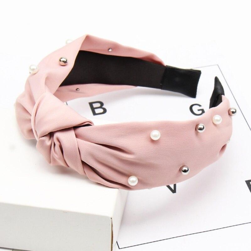 Couleur unie noeud bandeaux pour femmes Simple tissu filles bandeau femmes cheveux accessoires large côté bandeau 9